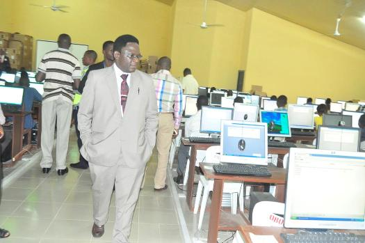 The Vice-Chancellor, Prof. Olusola Oyewole at one of the Test Centres