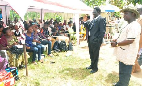 The Vice-Chancellor, Pro. Olusola Oyewole addressing, the prospective INHURD students with their parents, to the admiration of the Director (INHURD), Prof. Francis Sowemimo