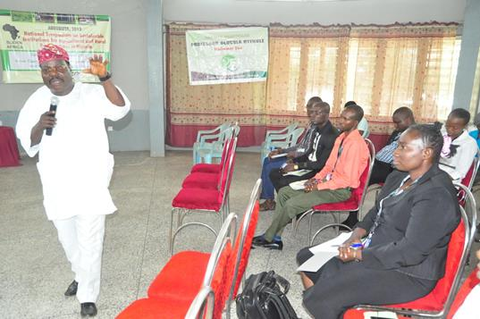 The Keynote Address Speaker and the Director (IFSERAR), Prof. Akin Omotayo, addressing the participants